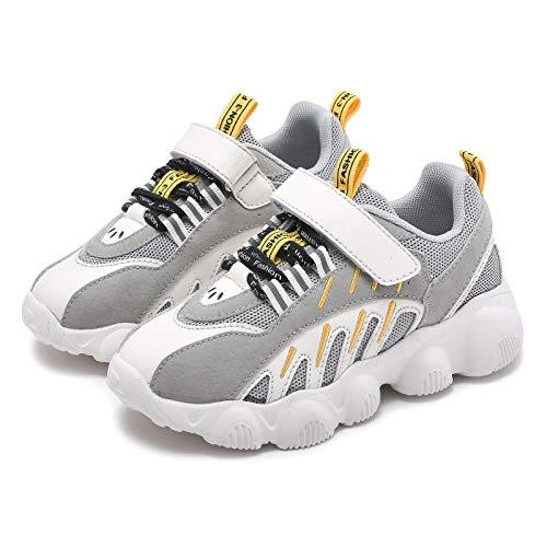 Zapatillas de deporte para niños y niñas, color negro, ligeras, cómodas., color Gris, talla 36 EU