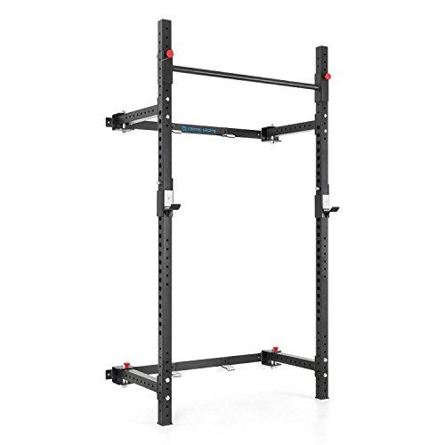 Capital Sports Flapton Half Rack - Squat Rack, Kniebeugenständer, Wand Rack, Wandmontage, zusammenfaltbar, J-Cups: max. 200kg, 26-stufig, Klimmzugstange, 3-stufig, schwarz