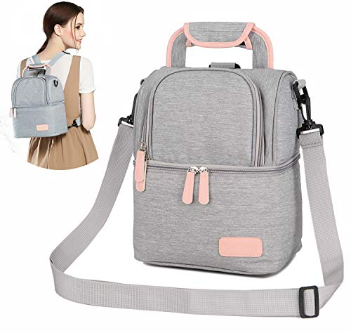 ThreeH Muttermilch Kühltasche Milchpumpentasche Doppelschichten Verstellbare Schulter Tote Rucksack für Mutter Outdoor Working Picknick BD06 Grey