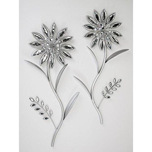 formano 2er Set Wanddeko, Wandbild Blumen Silber Metall H. 46cm