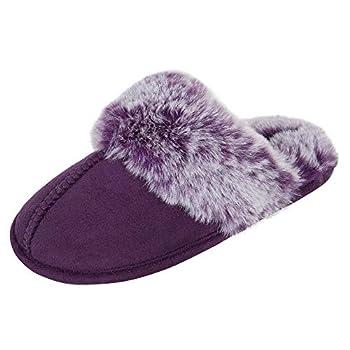 Jessica Simpson Girls Comfy Cute Faux Fur Slip-On Shoes Memory Foam House Slipper Purple