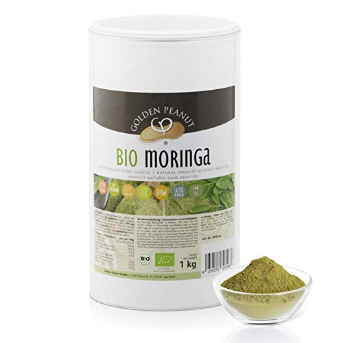 Bio Moringa Oleifera Blattpulver 1 kg |glutenfrei| ohne Zusätze | vegan| höchste Reinheit| geprüfte Qualität | Golden Peanut