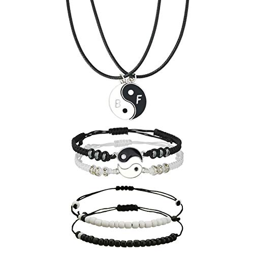 Pack of 6 Couples Bracelets Matching Yin Yang Adjustable Braided Cord with Necklace Black and White Beads Bracelet for BFF Friendship Valentine's Boyfriend Girlfriend Relationship Gifts