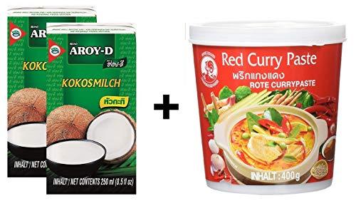 Confezione da 2 pezzi di latte di cocco AROY-D [2x 250ml] Cocosmilc - Latte di cocco + Pasta di curry al gallo rosso 1x400g
