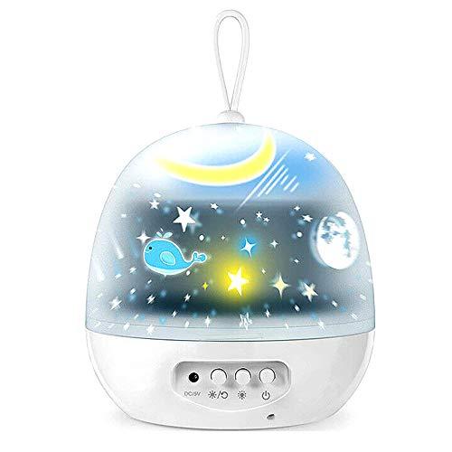 LED Sternenlicht Projektor, 360° Rotation Kinder Lampe, für Dekoration Kinder Erwachsene Zimmer,White