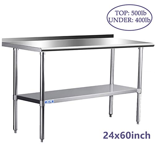 Stainless Steel Table for Prep & Work 24 x 60 Inches, NSF Commercial Heavy Duty Table with Undershelf and Backsplash for Restaurant, Home and Kitchen