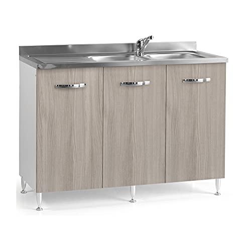 LIMX Armario 120 x50xh 85 3 Puertas de gabinete de Cocina se Pueden Instalar con lavamanos y lavamanos, adecuados para cocinas y baños