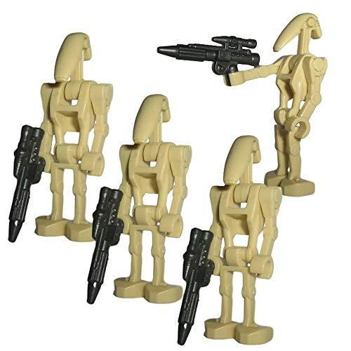4er Set B1 Battle Droiden mit Blaster Waffe - modifizierte Custom Figur des bekannten Klemmbausteinherstellers und somit voll kompatibel zu Lego
