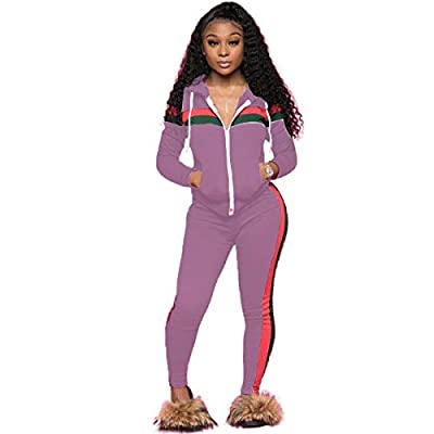 ZJFZML Women Two Piece Tracksuit Active Hooded Top Bottom Sweatpants Set Fashion Tunic Sweatshirts Pullover Cute Loose Fit Trendy Clothing Knit Designer Daily Wear Purple XL