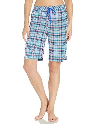 Karen Neuburger Women's Pajamas Cropped Pj Bermuda Short, Plaid Light Blue, Medium