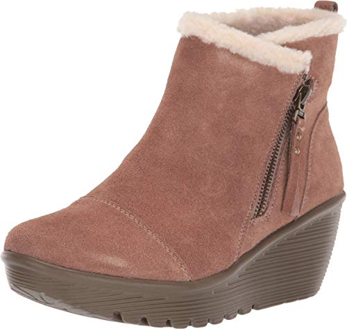 Skechers Damen Parallel - Off Hours Stiefelette, Mushroom Suede/Natural Faux Sherpa, 39 EU