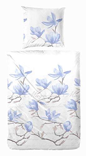 Hahn Mako-Satin Bettwäsche Magnolia bleu 1 Bettbezug 135x200 cm + 1 Kissenbezug 80x80 cm