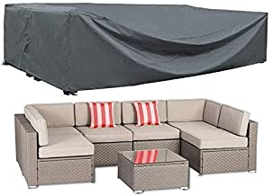 AKEfit Patio Furniture Cover Outdoor sectional Furniture Covers Waterproof Dust Proof Furniture Lounge Porch Sofa Protecto...