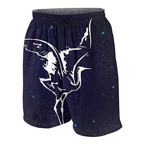 DCVFB Shorts de Playa para niños con grúa Blanca Pantalones Deportivos para niñas y niños con cordón