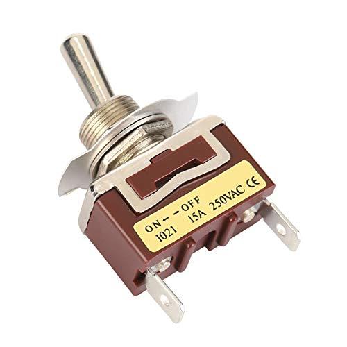 LANTRO JS - Mini interruptor de palanca 1021 de 5 piezas, interruptor de palanca de 12 mm ON-OFF, 2 posiciones, 2 pines, 6,3 pines rápidos