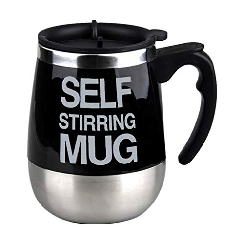SUJING Self Stirring Coffee Mug, Lazy Electric Stainless Steel Self Mixing Cup Magnetic Stirring Coffee Mug - Best for Morning, Travelling, Home, Office, Men and Women (Black)