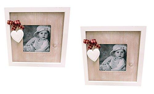 2 fotolijsten hout met witte hartjes 17 x 17 cm in landelijke stijl
