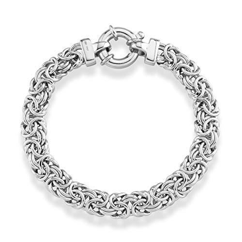 Miabella 925 Sterling Silver Italian 9mm Classic Byzantine Link Chain Bracelet for Women 7, 7.25, 7.5, 8 Inch Handmade in Italy (7)