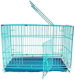 PSK PET MART Sky Blue 18 Inch Iron Cage with Removable Tray for Dog & Rabbit