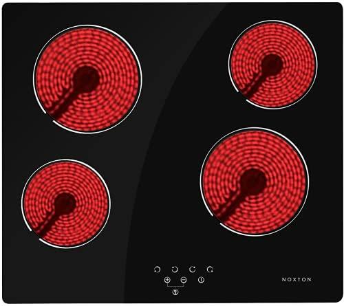 NOXTON - Hornillo eléctrico de cerámica con 4 quemadores integrados, con control táctil, temporizador de bloqueo para niños, fácil de limpiar con cable duro, 6000 W, 220~240 V