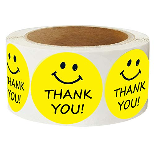 """Yellow Smiley Happy Face Thank You Stickers - 2"""" Inch Round Circle Dots Paper Teacher Labels 500 Total Smiley Stickers per Roll"""