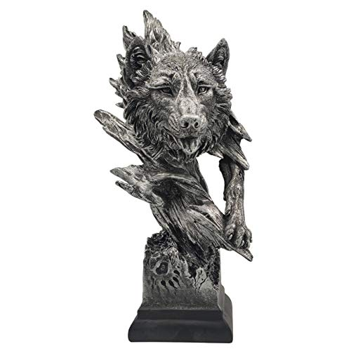 LOOYAR Resin Wolf Statue Sculpture Ornament Collectible Figurine Craft Furnishing for Home Décor Farm House Living Room Porch Decoration Office Desk Desktop Table Wine Cabinet Arrangement Gift, Silver