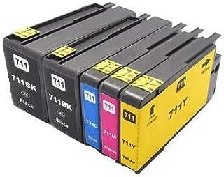 Printing Pleasure 5 Cartuchos de Tinta compatibles para HP Designjet T120, T520 | Reemplazo para HP 711XL, CZ129A, CZ130A, CZ131A, CZ132A: Amazon.es: Electrónica
