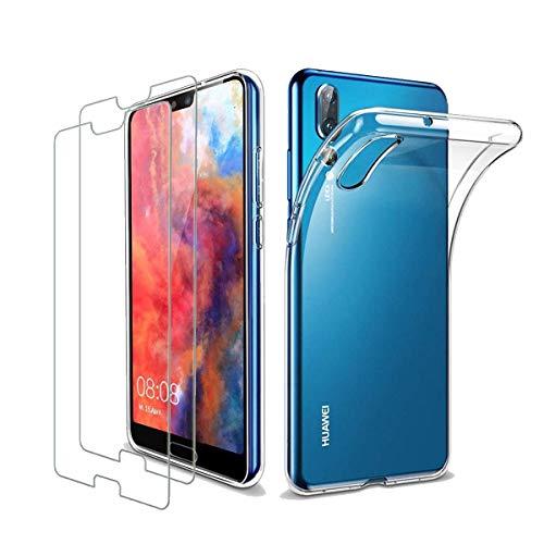 iLieber Huawei P20 pro Hülle mit Panzerglas, [1 Hülle + 2 Panzerglas] Schutzhülle [Ultra Dünn] Folie Glas 9H Panzerglasfolie TPU Silikon Case Cover Transparent Crystal für Huawei P20 pro