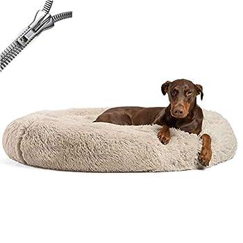 Puppy Love Panier Chien, Coussin Chien Anti Stress XXXL Dehoussable, Paniers Et Mobilier pour Chiens, Orthopedique Lit Apaisant Comfy pour Chien, Améliorer Le SommeilBrown-100cm