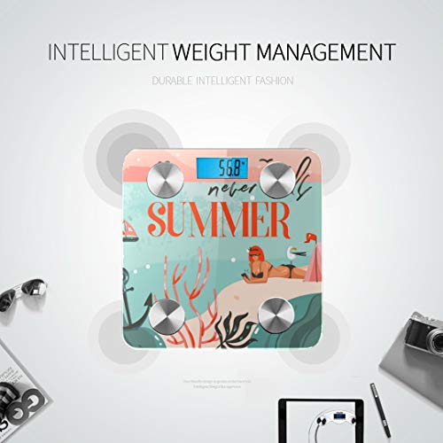 GIRLOS Beach Girl Summer Umbrella Sunbathe Bodyfat Scale Best Weight Scale Body Mass Scale Tracks 8 Key Compositions Analyzer Sync with Fitness Apps 400 Lbs