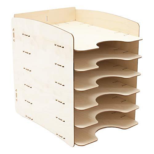 myORGA no.8 - Briefablage 6-fach, Ablagefächer, Ablagekorb, Dokumentenablage für Schreibtisch, Büro und Schule aus Holz