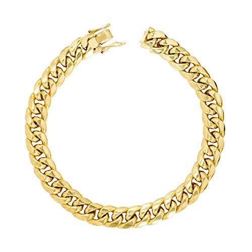 Nuragold los hombres del oro amarillo 14k 9mm hueco miami cubano enlace pulsera de cadena, 7.5'- 9'