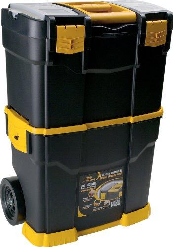 Art Plast 6700R Fahrbarer Werkzeugkoffer aus Kunststoff, Schwarz / orange