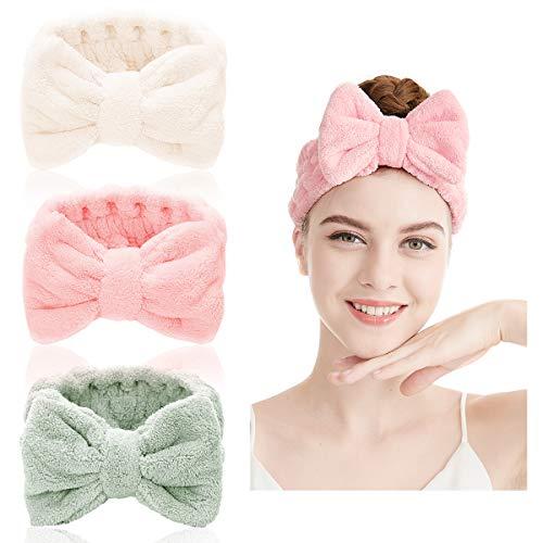Bowknot Haarbänder - 2 Stücke Haarband für Make Up Spa Stirnband Plüsch Stirnband Elastisches Haarband Kosmetische Stirnbänder Haarband Gesicht Waschen Haarband Süßes Stirnband (Farbe E)