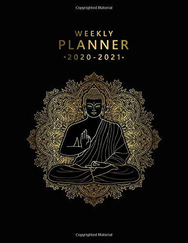 Weekly Planner 2020-2021: 2 Year Weekly & Daily View Organizer & Agenda with To-Do's, Funny Holidays & Inspirational Quotes, Vision Boards & Notes | Nifty Black & Gold Buddha Print