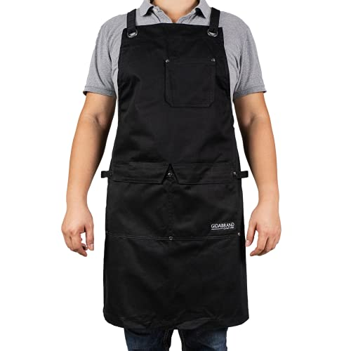 Professional Chef Apron for Men Women   Durable Cotton for BBQ Grilling and Cooking   With Pockets and Quick Release Buckle