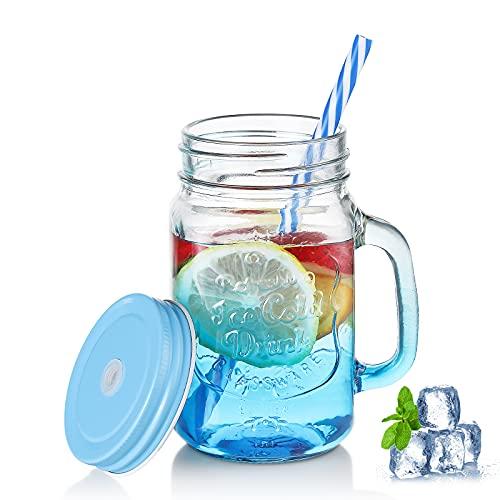 Bicchiere con manico e coperchio, 500 ml, con cannuccia graduata, riutilizzabile – Colorati Ice Cold Drink, vetro (blu)