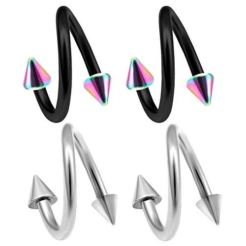 bodyjewelrytrend 4 Stück Spiral eloxiert Piercing Twister Ohr Kegel chirurgenstahl 1,2mm unterlippe lippenpiercing lippe Helix Twist Tragus Edelstahl AXBQ - 8mm