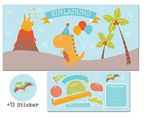 CardWheels 12 Einladungskarten Dinosaurier Kindergeburtstag+ 13 Aufkleber Gratis - Mädchen Jungen / Dino Party Mitgebsel Dinos Geburtstag