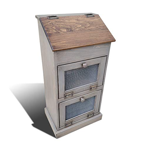 Peaceful Classics Bread Box Pantry Storage Bin | Vegetable, Onion, Potato Holder | Amish Furniture Wooden Kitchen Chest (Pewter)