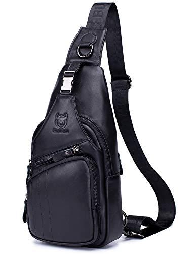 BULLCAPTAIN Leather Men Sling Bag Casual Crossbody Chest Bags Travel Daypack (Black)