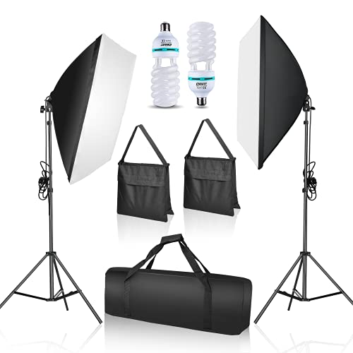 EMART Softbox Lighting Kit with Sandbag, 20 x28  Photography Soft Box Continuous Lighting Set with Photo Studio Bulbs, Professional Camera Light Equipment for Video Recording, Filming, Podcast