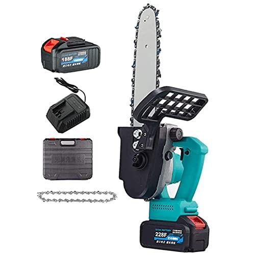 H-BEI Mini Motosierra Motosierra eléctrica de Alta Potencia de 8 Pulgadas, Equipada con Cargador y baterías, Cadena, Motosierra portátil inalámbrica Ligera para el hogar, Utilizada para