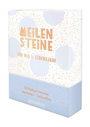 GRAFIK WERKSTATT Meilenstein-Box | Meilenstein-Karten (für das 1. Lebensjahr) | Geschenk | blau für Jungs