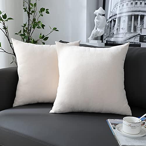 Chirest Fodere per Cuscino 45x45cm Bianco Set di 2 Morbido Rettangolare Copricuscino Fodere per Cuscino Decorativa Rustica Solida per la Decorazione Domestica Soggiorno Camera da Letto Divano