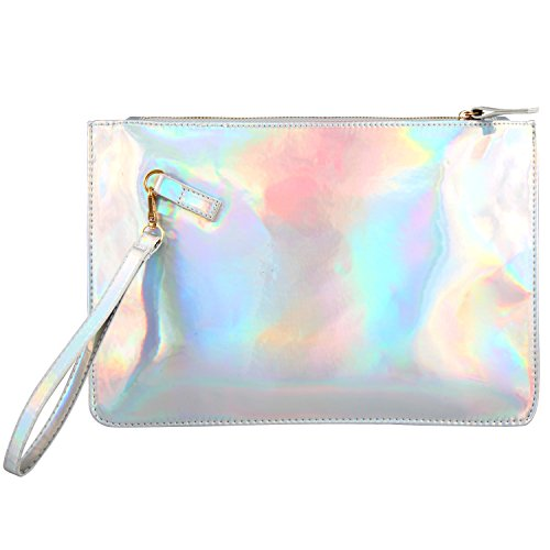 Holographic Clutch Bag PU Leather Cosmetic Bag Makeup Bag Toiletry Travel Bag Fashion Laser Envelope Evening Wristlet Handbag Protable Waterproof Zipper Hand Pouch Shining Evening Bag (Shiny Silver)