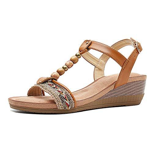 Sandali Estivi Da Donna Marroni Sandali Tacco Alto Di Grandi Dimensioni Sandali Con Zeppa Etnici In Rilievo Retrò