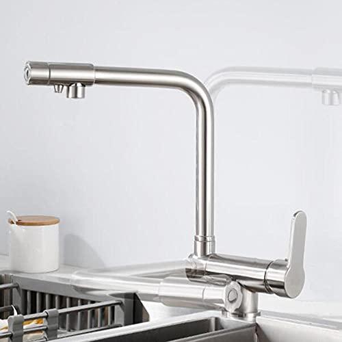 Miscelatore Cucina 3 Vie Rubinetto da Cucina Pieghevole Sottofinestra Ottone Girevole a 360° Acqua Calda e Fredda Acqua Pura Rubinetto Cucina per Depuratore-Spazzolato-A