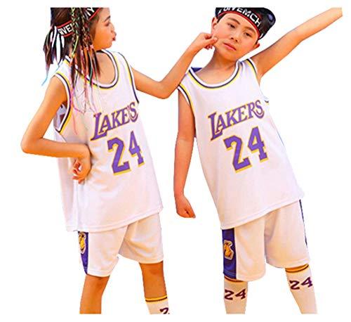 Bryant Lakers # 24 Basketballtrikot für Jungen Mädchen, 2-teiliges Oberteil und Shorts Set Gestickte Basketball-Leistungsweste Outdoor-Sportarten Atmungsaktiv-White-XXXS