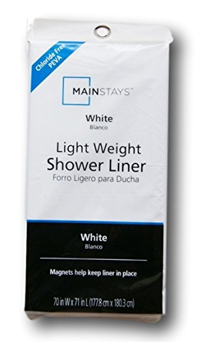 Mainstay Light Weight PEVA Shower Curtain Liner - 70 x 71 - White